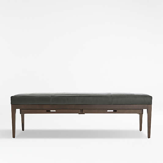 Nash Leather Large Bench with Tray