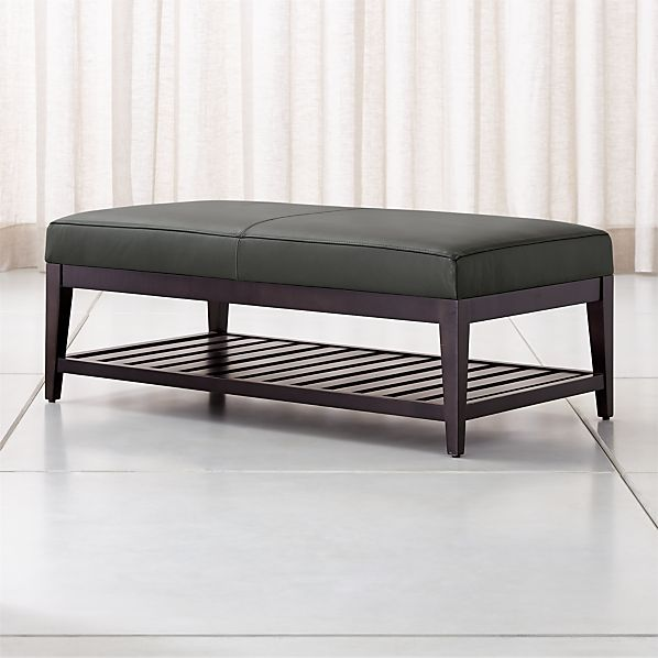 Leather Rectangular Ottoman With Slats