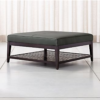 Nash Leather Square Ottoman With Slats