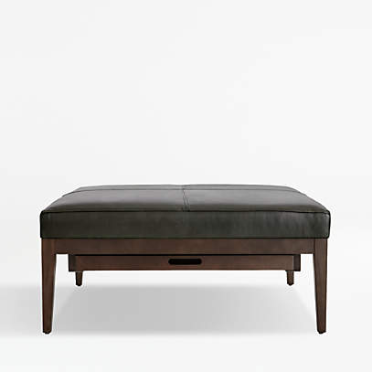 Nash Leather Square Ottoman With Tray Reviews Crate And Barrel Canada
