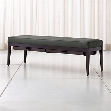 Terrific Nash Leather Large Tufted Bench With Tray Crate And Barrel Ibusinesslaw Wood Chair Design Ideas Ibusinesslaworg