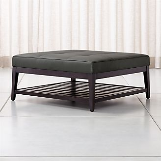 Nash Leather Tufted Square Ottoman With Slats