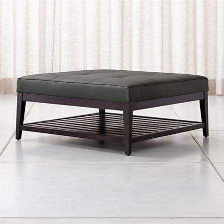 Nash Leather Tufted Square Ottoman With Slats Crate And Barrel