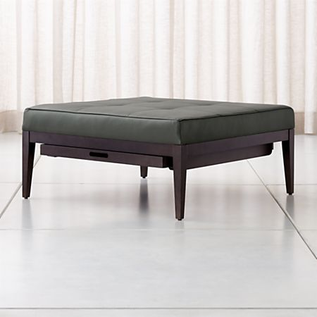 Astonishing Nash Leather Tufted Square Ottoman With Tray Ncnpc Chair Design For Home Ncnpcorg