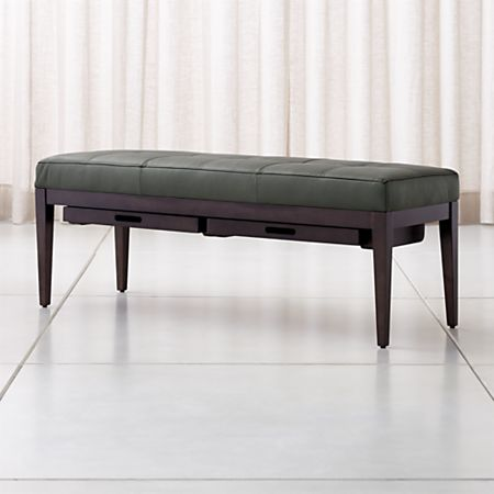 Peachy Nash Leather Small Tufted Bench With Tray Crate And Barrel Canada Cjindustries Chair Design For Home Cjindustriesco