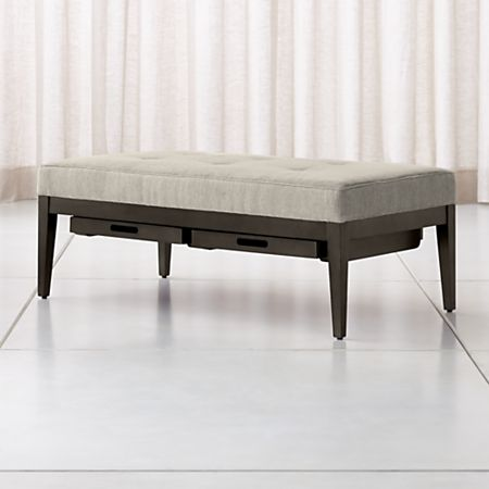 Superb Nash Rectangular Tufted Ottoman With Tray Crate And Barrel Evergreenethics Interior Chair Design Evergreenethicsorg