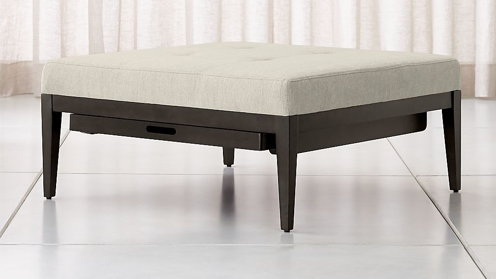 Nash Square Tufted Ottoman with Tray - Image 1 of 7