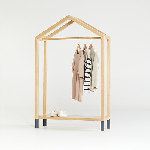 Natural and Black House Shaped Garment Rack - Image 1 of 5