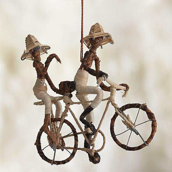 Natural Fiber Double Bicyclists Ornament