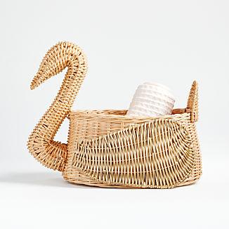Natural and Gold Swan Basket
