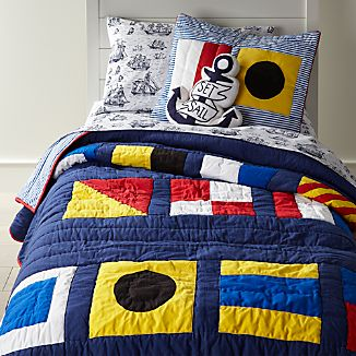 nautical flags full queen quilt - Nautical Bedding