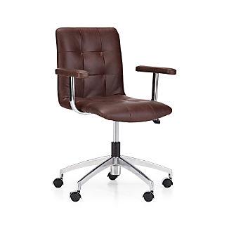 Navigator Saddle Brown Leather Tufted Desk Chair