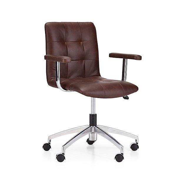 Navigator Saddle Brown Leather Tufted Desk Chair - Image 1 of 12