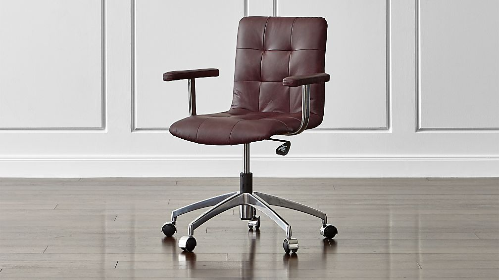 navigator saddle brown leather office chair reviews crate and barrel