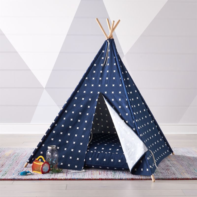 Cross Print Navy Blue Teepee Crate And Barrel