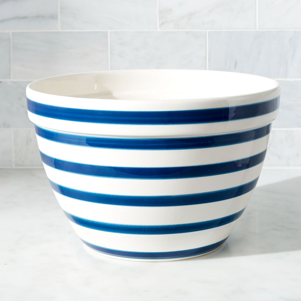 Large Navy and White Striped Mixing Bowl - Crate and Barrel