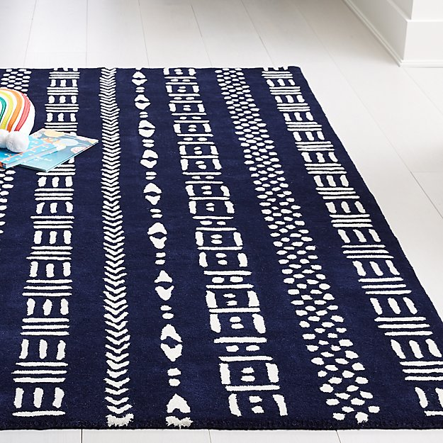 Navy Tribal Rug - Image 1 of 3