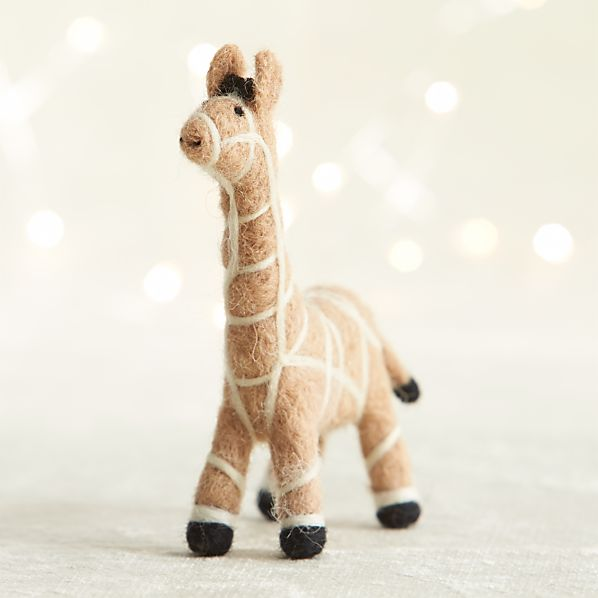 Needle Felt Wool Giraffe Ornament