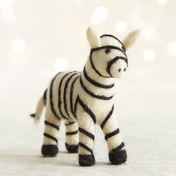 Needle Felt Wool Zebra Ornament