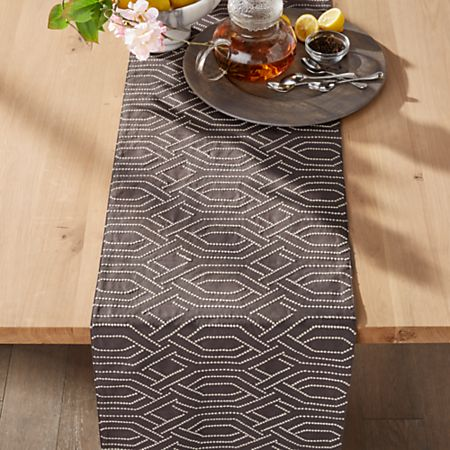 Nellie Embroidered Grey Table Runner