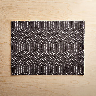 Nellie Embroidered Grey Placemat