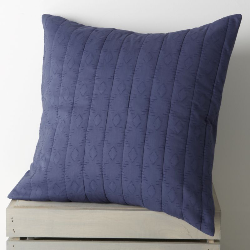 Brilliant blue, gathered in hand-quilted rows and patterned with diamonds, lending rich texture to soft cotton and cotton voile. Sham reverses to a cotton voile with a generous overlapping closure. Bed pillows also available.<br /><br /><NEWTAG/><ul><li>100% cotton</li><li>100% polyester filling</li><li>Machine wash cold, tumble dry low</li><li>Do not iron</li></ul>