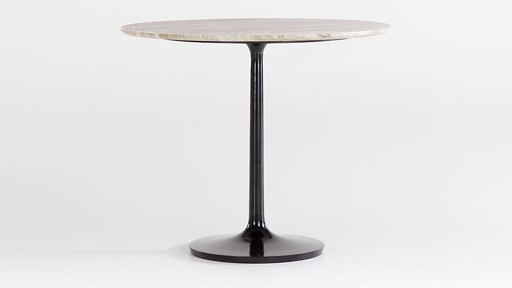 "Nero 36"" Brown Marble Dining Table with Bronze Base - Image 1 of 4"