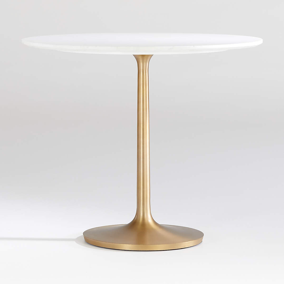 Picture of: Nero 36 White Marble Dining Table With Brass Base Reviews Crate And Barrel