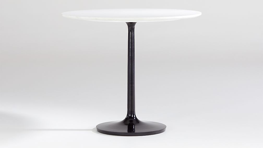 """Nero 36"""" White Marble Dining Table with Bronze Base - Image 1 of 4"""