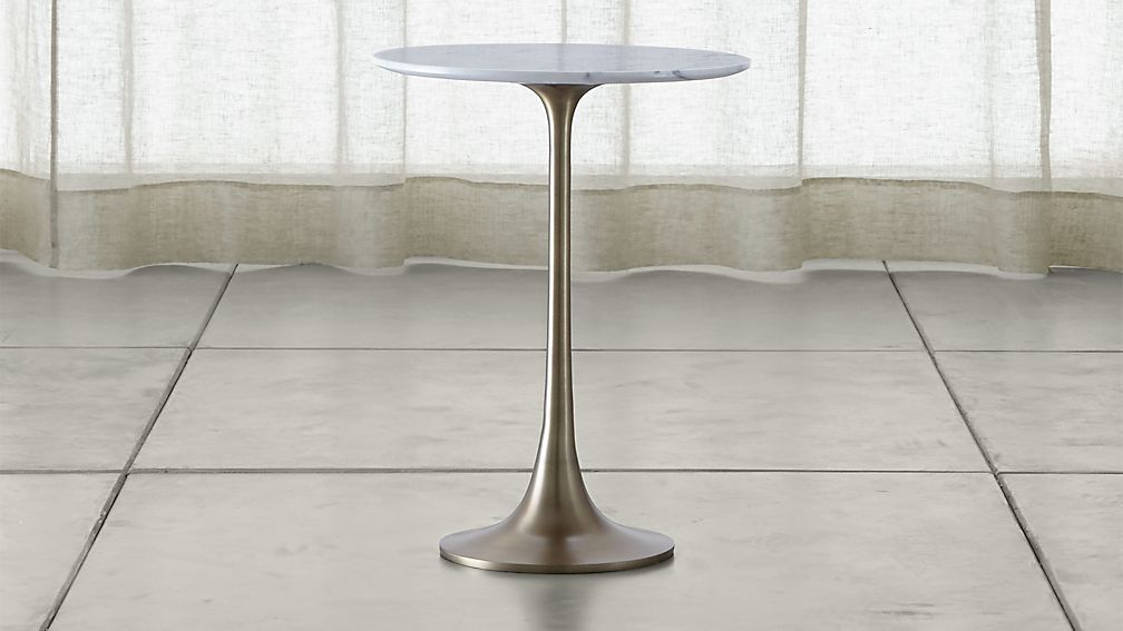 Nero White Marble Accent Table Crate And Barrel