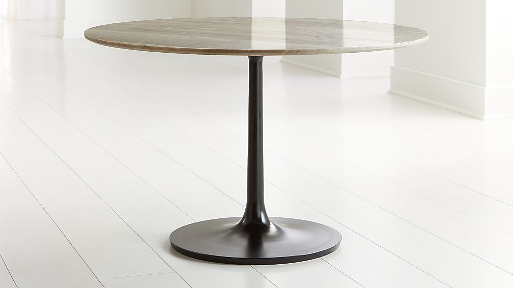 """Nero 48"""" Brown Marble Dining Table with Bronze Base - Image 1 of 6"""