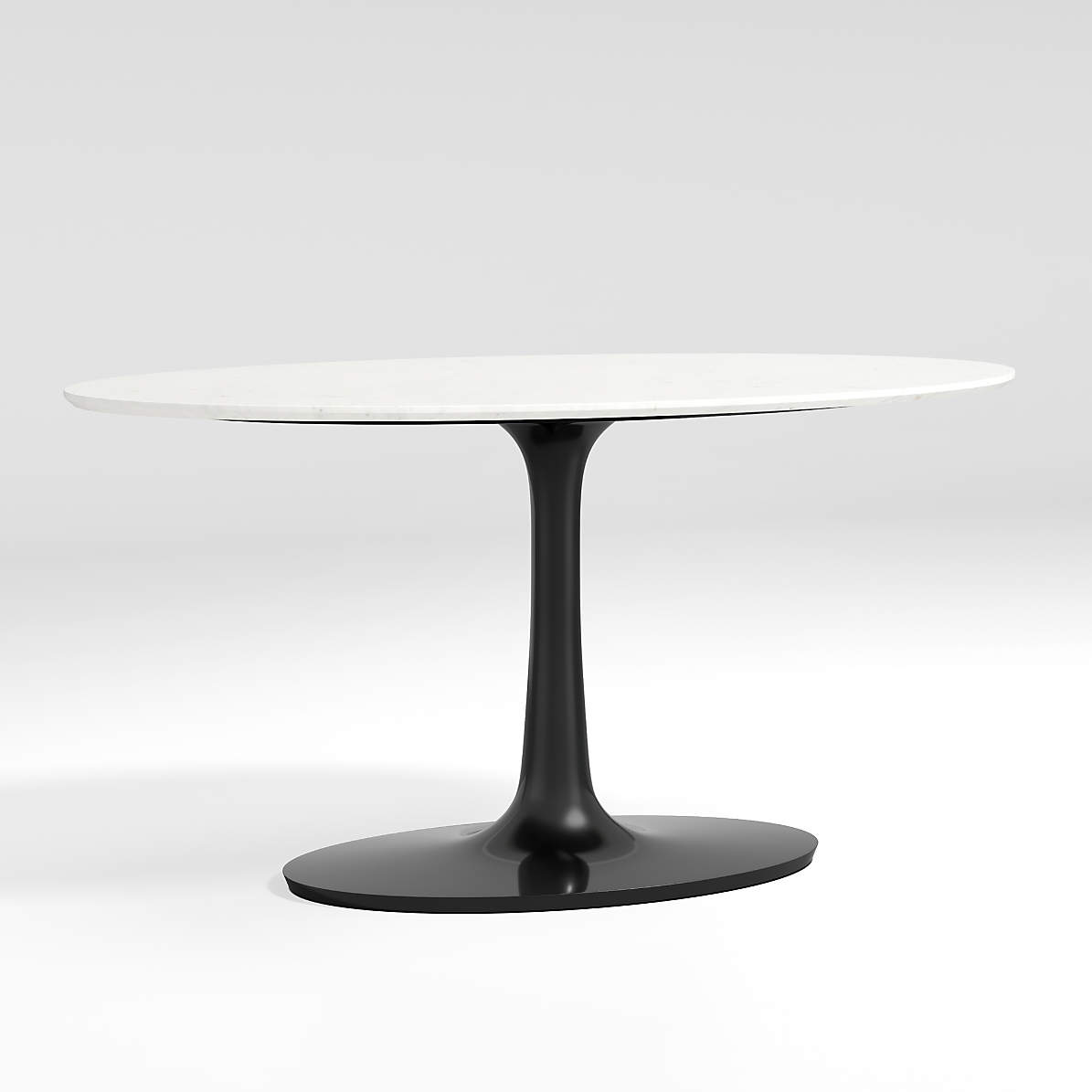 Nero Oval White Marble Top Table With Matte Black Base Reviews Crate And Barrel Canada