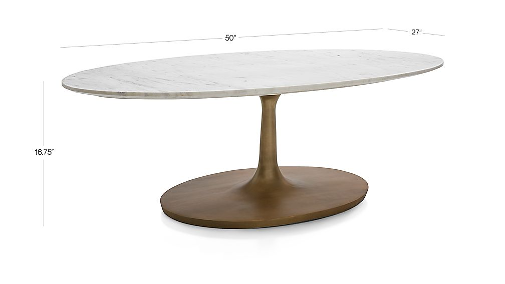 TAP TO ZOOM Image With Dimension For Nero White Marble Oval Coffee Table