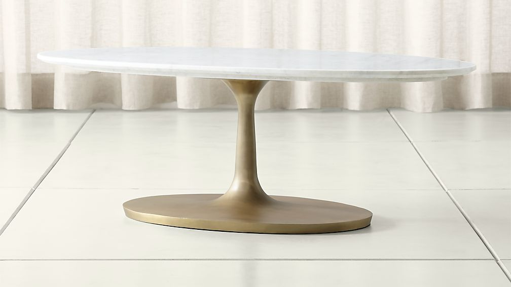 Nero White Marble Oval Coffee Table - Image 1 of 11