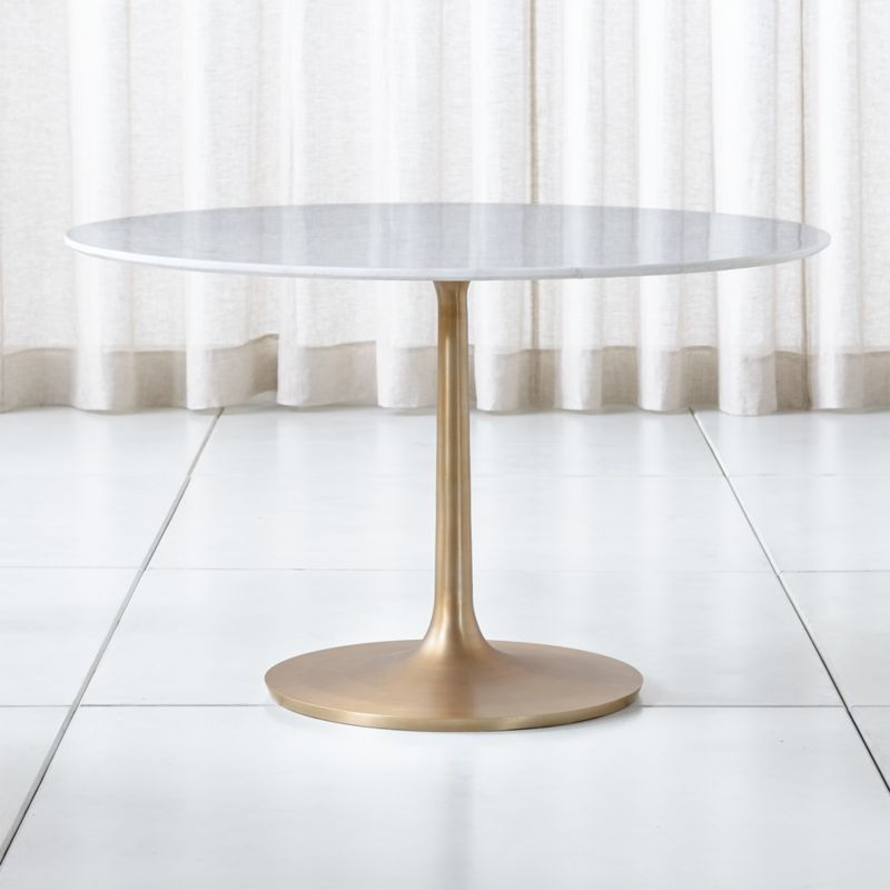 Nero 48 Quot White Marble Dining Table With Brass Base