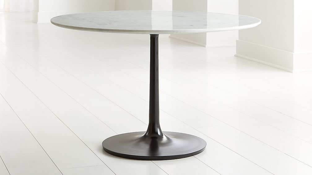 """Nero 48"""" White Marble Dining Table with Bronze Base - Image 1 of 5"""