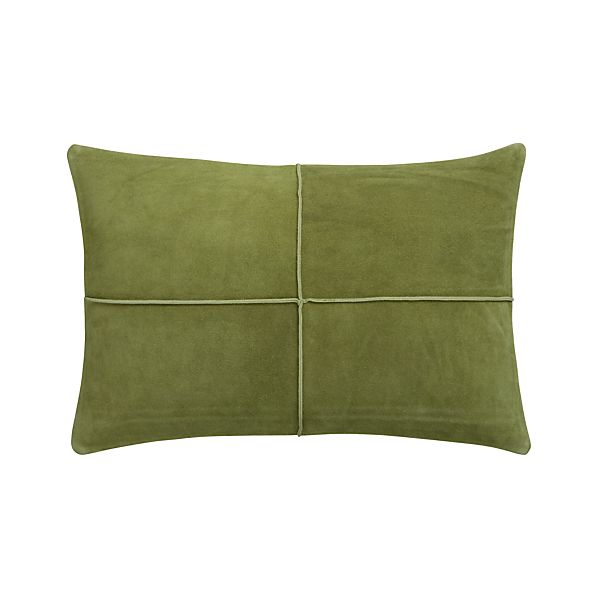 "Nesbit Green 18""x12"" Pillow with Feather-Down Insert"