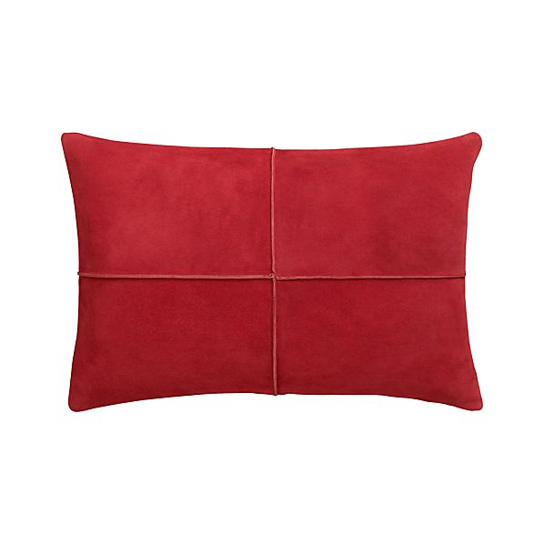 "Nesbit Red 18""x12"" Pillow with Feather-Down Insert."