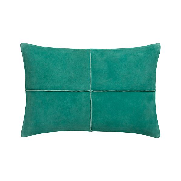 """Nesbit Teal 18""""x12"""" Pillow with Feather-Down Insert"""