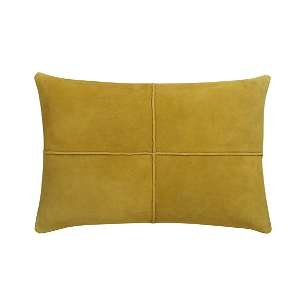 """Nesbit Yellow 18""""x12"""" Pillow with Feather-Down Insert"""