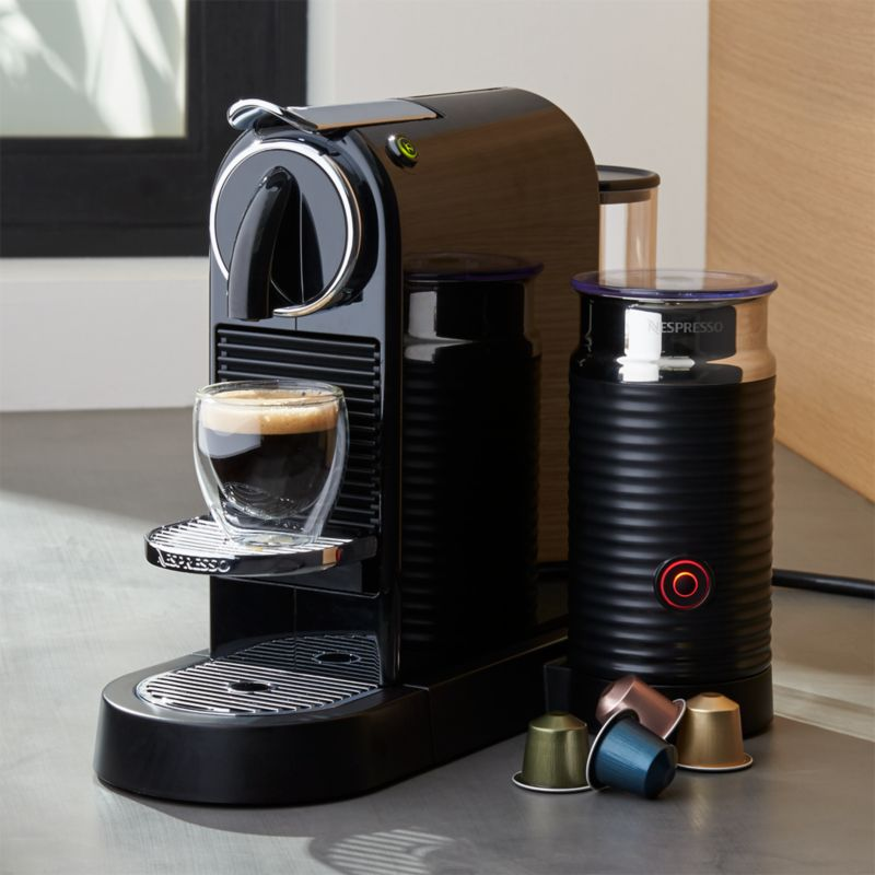 nespresso citiz black espresso machine with milk frother. Black Bedroom Furniture Sets. Home Design Ideas