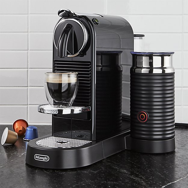 nespresso by delonghi citiz black espresso machine with milk frother crate and barrel. Black Bedroom Furniture Sets. Home Design Ideas