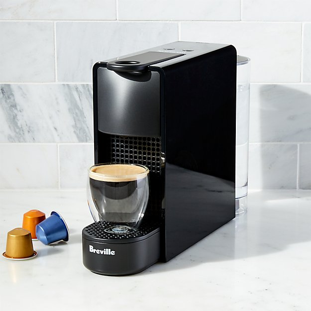 nespresso by breville essenza mini black espresso maker reviews crate and barrel. Black Bedroom Furniture Sets. Home Design Ideas