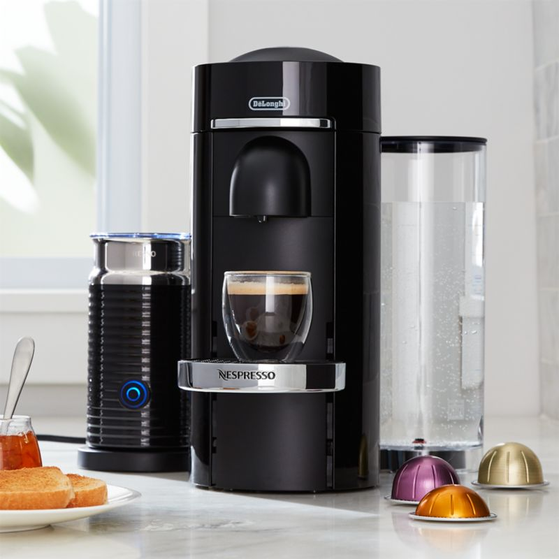 nespresso by delonghi vertuo deluxe plus black coffee maker bundle reviews crate and barrel. Black Bedroom Furniture Sets. Home Design Ideas