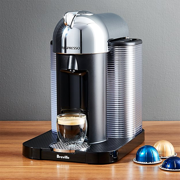 nespresso by breville vertuoline chrome coffee espresso maker crate and barrel. Black Bedroom Furniture Sets. Home Design Ideas