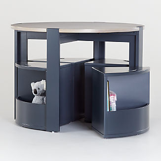 Nesting Charcoal and Grey Stain Play Table and Chairs Set