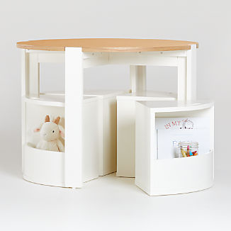 Nesting White and Natural Play Table and Chairs Set