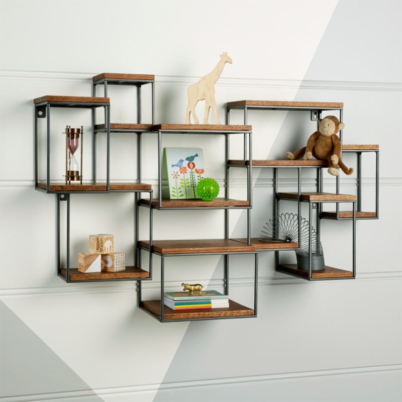 Wide Network Brown Wall Shelf Reviews Crate And Barrel