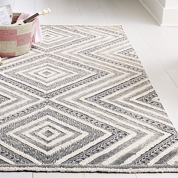 Diamond Neutral Patterned Rug - Image 1 of 5