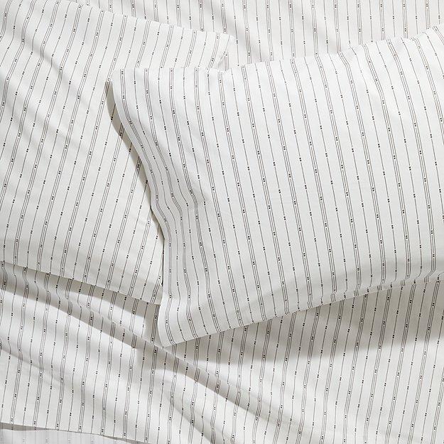 Neville Organic Grey Patterned Sheet Set Full - Image 1 of 6